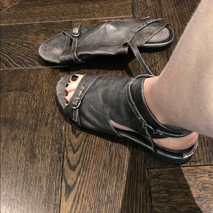 Gray half gladiator sandals